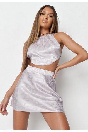 Missguided Petite Co Ord Satin Animal Print Mini Skirt