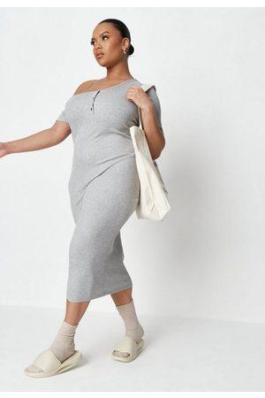 Missguided Plus Size Rib Off The Shoulder Midi Dress