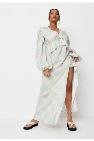 Missguided Plus Size Green Plaid Ruffle Maxi Dress