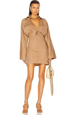 The Attico Dakota Mini Dress in Tan