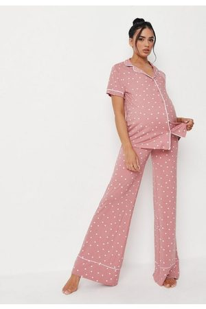 Missguided Rose Heart Print Shirt Wide Leg Maternity Pajama Set