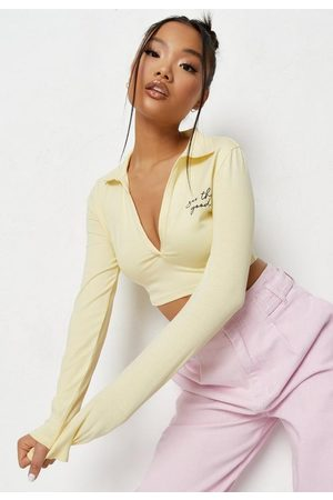 Missguided Positive Graphic V Polo Crop Top