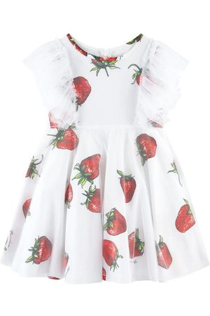 MONNALISA Strawberry Print Tulle Dress - Girl - 3 years - - Casual dresses