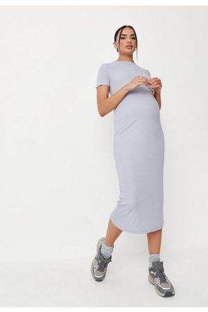 Missguided Rib Popper Front Maternity Dress