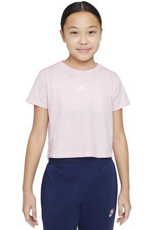Nike Girls Sports T-shirts - Sportswear Repeat Crop L Foam / White