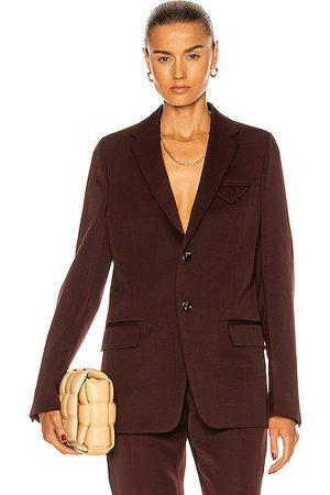 Bottega Veneta Women Blazers - Sartorial Grain De Poudre Blazer in Burgundy