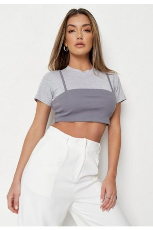Missguided Rib Overlay Bralet Cropped T Shirt