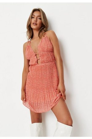 Missguided Peach Ditsy Floral Strappy Mini Dress