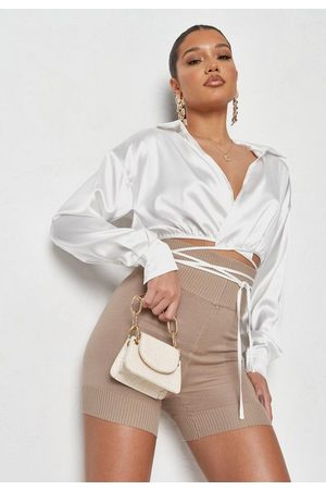 Missguided Co Ord Satin Wrap Front Shirt