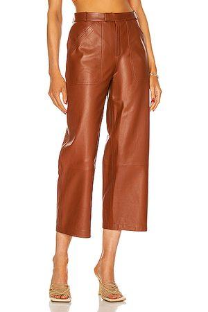Zeynep Arcay Culotte Leather Pant in Rust