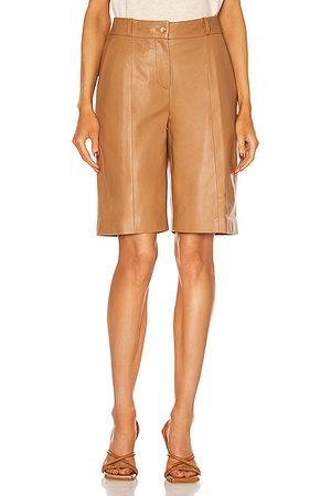 Loulou Studio Women Bermudas - Kiltan Leather Bermuda Short in Tan