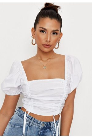Missguided Women Crop Tops - Poplin Ruched Front Crop Top