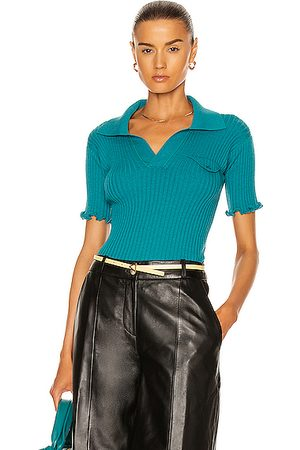 Bottega Veneta Women Polo Shirts - Wool Lightweight Rib Polo Top in