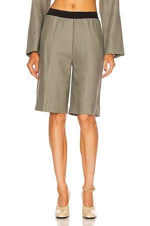 Loulou Studio Women Bermudas - Banggi Linen Bermuda Short in Green