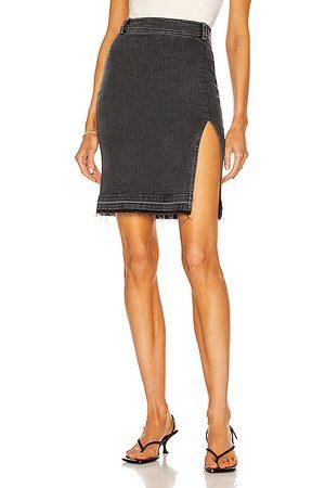 Zeynep Arcay Stretch Denim Slit Skirt in Black