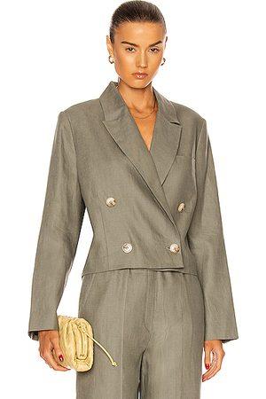 Loulou Studio Women Blazers - Chagos Linen Cropped Blazer in Green