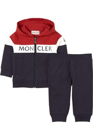 Moncler Kids - Navy Color Block Branded Tracksuit - Unisex - 12-18 months - Navy - Tracksuits