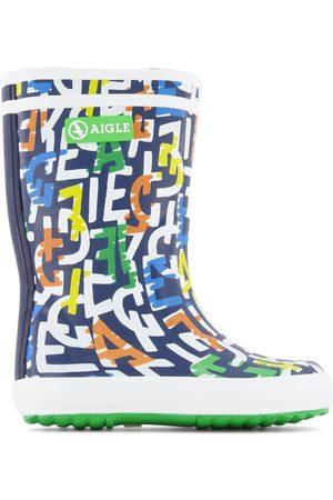 Aigle Rain Boots - Kids Sale - Navy Monogramme Rain Boots - Unisex - 24 EU - - Wellingtons