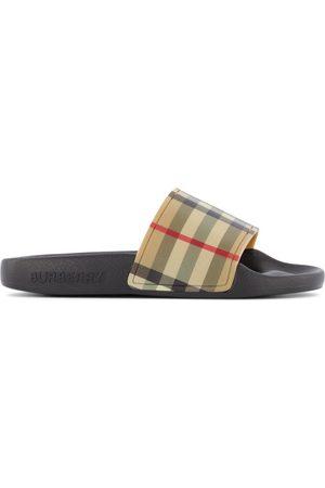 Burberry Flat Shoes - Kids - Black Vintage Check Slide Sandals - Unisex - 27 (UK 9) - - Slip-on sandals