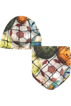 Molo Beanies - Soccer Balls Noon Bib And Hat - Boy - 0-6 Months - - Baby beanies