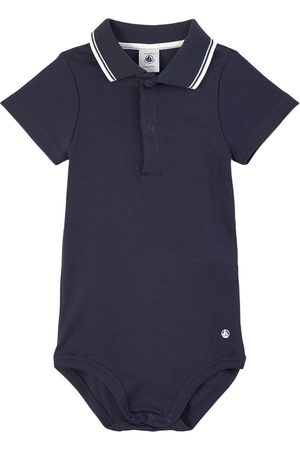 Petit Bateau Polo Shirts - Gray Polo Baby Body - Boy - 3 months - Navy - Baby bodies