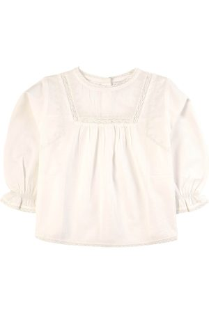 Belle Girls Blouses - Taupe Lace and Embroidery Blouse - Girl - 2-3 Years - - Blouses