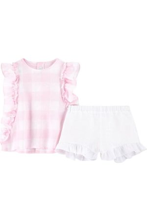 Il gufo Gingham Tank Top And Shorts Set Pink - Girl - 3 Months - - Outfit sets