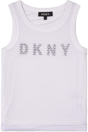 DKNY Girls Tank Tops - Kids Sale - Logo Mesh Tank Top - Girl - 8 years - - Tanks and vests