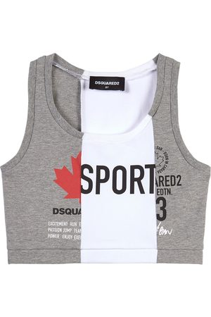 Dsquared2 Kids Sale - Logo Print Sports Bra - Girl - 8 years - Grey - Shirts