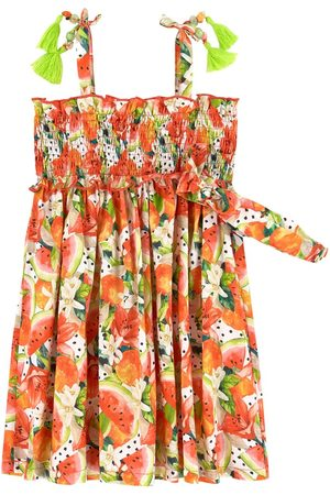 Mayoral Girls Casual Dresses - All Over Fruit Print Smock Dress with Headband - Girl - 2 years - - Casual dresses