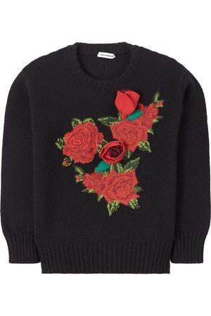 Dolce & Gabbana Kids Sale - Flower Applique Wool Knit Sweater - Girl - 5 years - - Jumpers