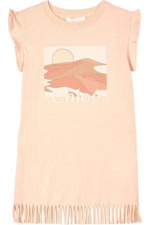 Chloé Kids - Peach Logo Printed Dress - Girl - 3 years - - Casual dresses