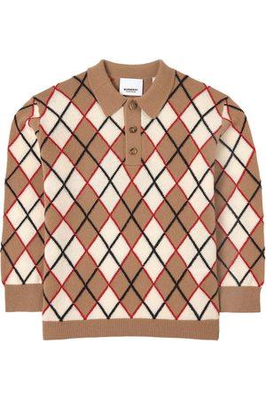 Burberry Boys Polo Shirts - Kids - Brown Argyle Intarsia Polo Shirt - Boy - 6 Years - - Polos