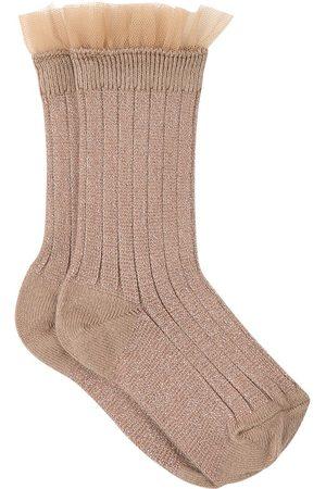 Collegien Kids - Petite Taupe Alizée Tulle Crew Socks - Girl - 24-27 (3-4 Years) - - Socks