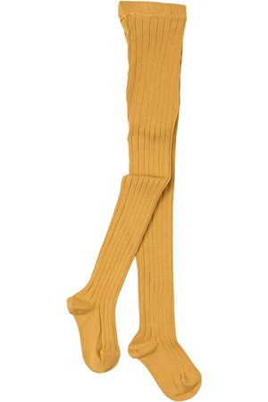 CONDOR Girls Stockings - Basic Rib Tights Mustard - Unisex - 0-3 Months - - Tights