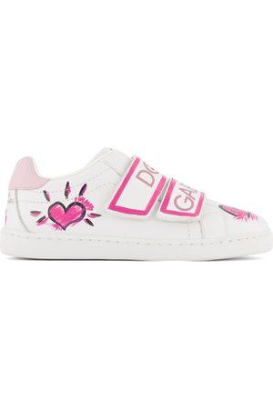 Dolce & Gabbana Kids - White Logo Velcro Strap Sneakers - Girl - 28 (UK 10) - - Casual trainers