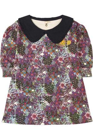 Oii Sweatshirt Dress w Collar Violet Flower AOP - Girl - 86/92 cm - - Casual dresses