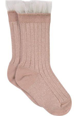 Collegien Kids - Vieux Rose Alizée Tulle Crew Socks - Girl - 21-23 (1-2 Years) - - Socks