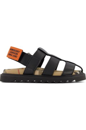 Burberry Sandals - Kids - Black Leather Sandals - Unisex - 27 EU - - Strappy sandals