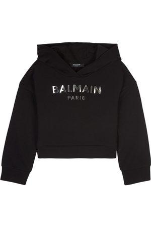 Balmain Kids - Logo Crop Hoodie - Girl - 6 years - - Sweatshirts