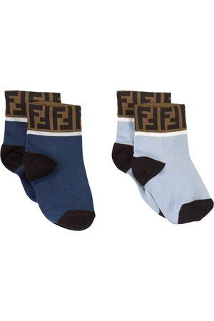 Fendi Socks - Kids - Navy FF Trim Socks - Unisex - I (3-4 years) - Navy - Socks