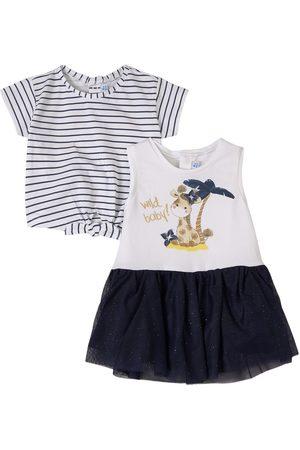 Mayoral Girls Printed Dresses - Navy Giraffe Print Dress Set - Girl - 6 months - Navy - Outfit sets