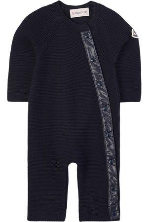 Moncler Kids - Pagliacietto Knitted Onesie Navy - Unisex - 6-9 months - Navy - Babygrows