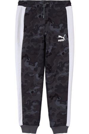 PUMA Kids - Grey Classic Graphic All Over Print Sweatpants - Boy - 7-8 years - Grey - Sweatpants