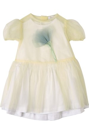 Il gufo Sale - Yellow Floral Applique Tulle Dress - Girl - 6 Months - - Casual dresses