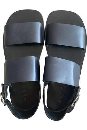 Marni Navy Leather Sandals