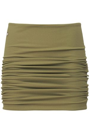 THE ATTICO Gathered Ribbed Mini Skirt