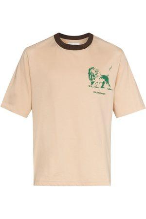 WALES BONNER Men Short Sleeve - Graphic-print short-sleeve T-shirt - Neutrals