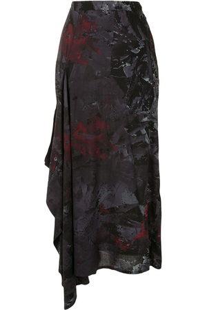 YOHJI YAMAMOTO Women Printed Skirts - Abstract print draped side skirt