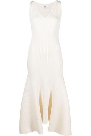 Ami Women Dresses - V-neck ribbed dress - Neutrals